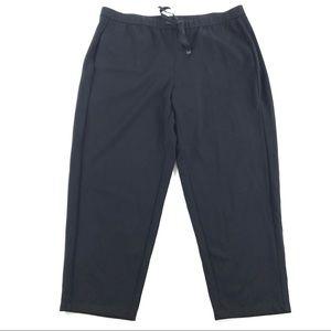 Eileen Fisher Crop Drawstring Pants Black Sz Large